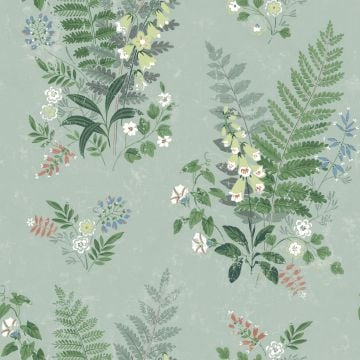 Foxglove wallpaper with a beige or green background