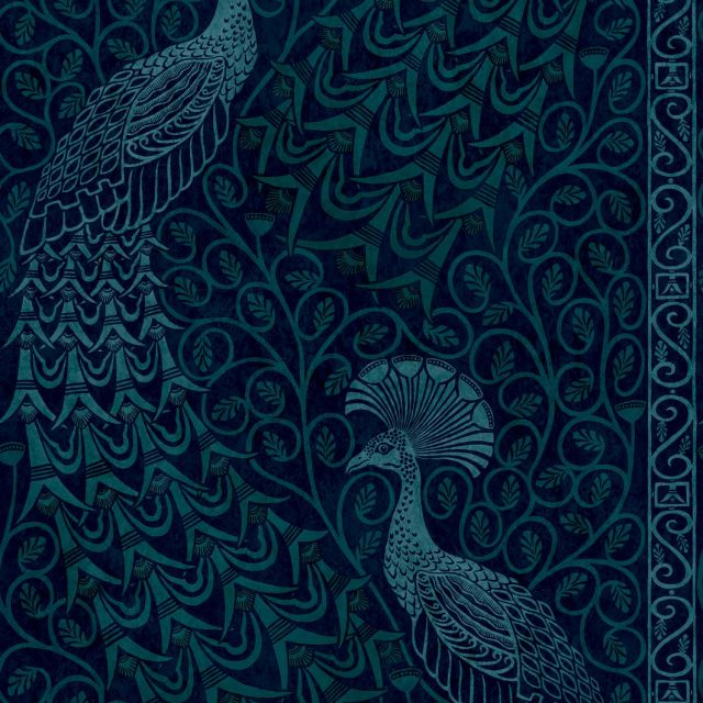 Pavo Parade metallic wallpaper in choice of five colours