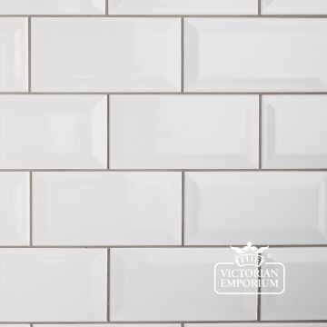 Bevel wall tiles - 100x200mm white