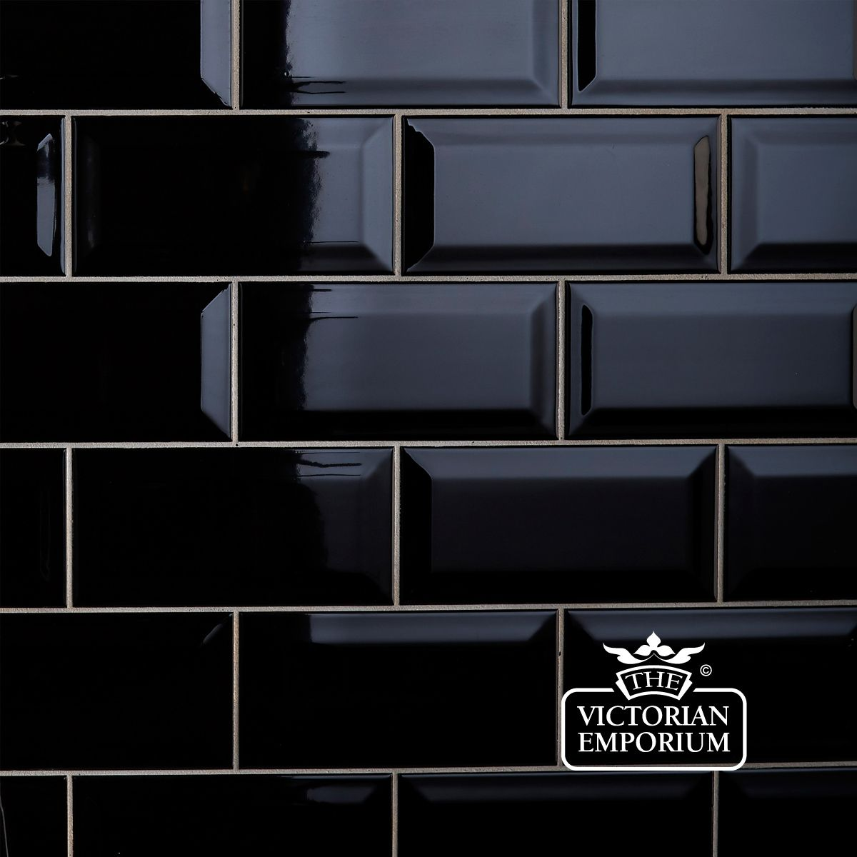 Bevel Wall Tiles 100x200mm Black Interior Ceramic Wall Tiles