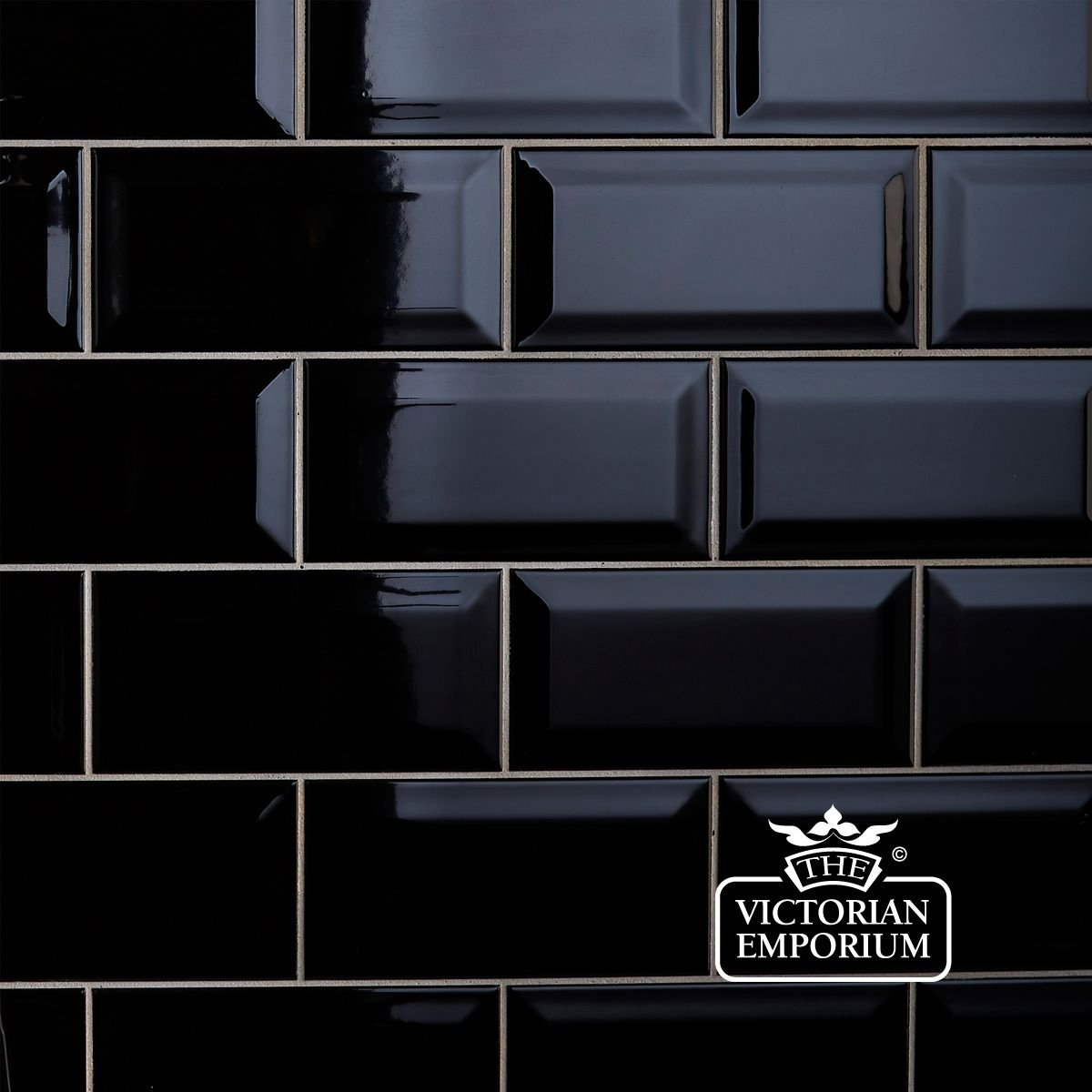 Black Gloss Kitchen Wall Tiles: Bevel Wall Tiles - 100x200mm Black