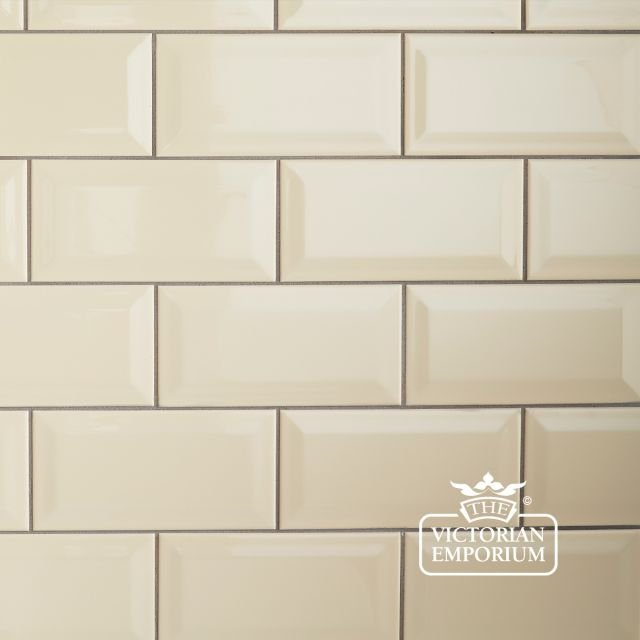 Bevel wall tiles - 100x200mm in cream, red, black or white