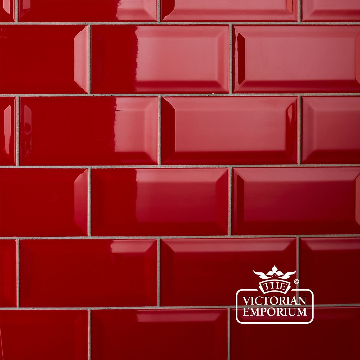 Subway Backsplash Tile Bevel Wall Tiles 100x200mm Red Interior Ceramic Wall Tiles