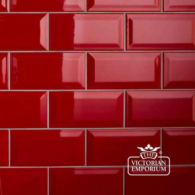 Bevel wall tiles - 100x200mm red