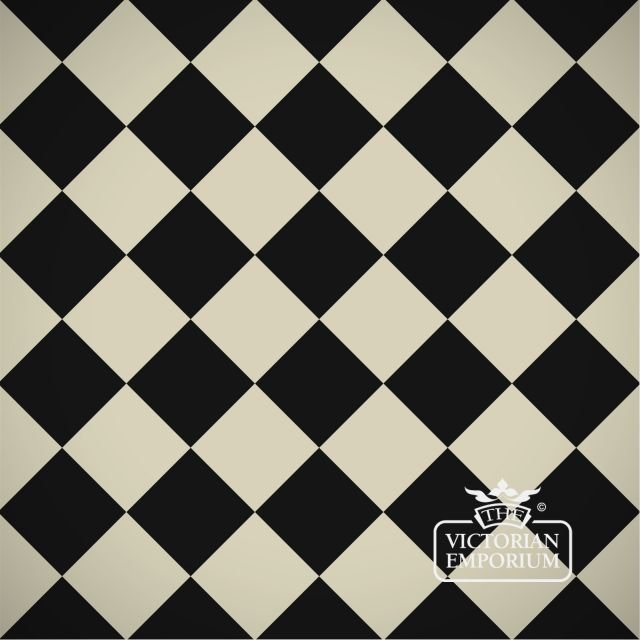 Victorian Path tiles - Black and White 10cm x 10cm squares (suitable for outdoor use)