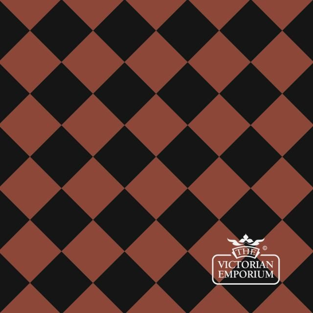 Victorian Path tiles - Black and Red 10cm x 10cm squares (suitable for outdoor use)