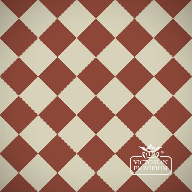 Victorian Path tiles - Red and White 10cm x 10cm squares (suitable for outdoor use)
