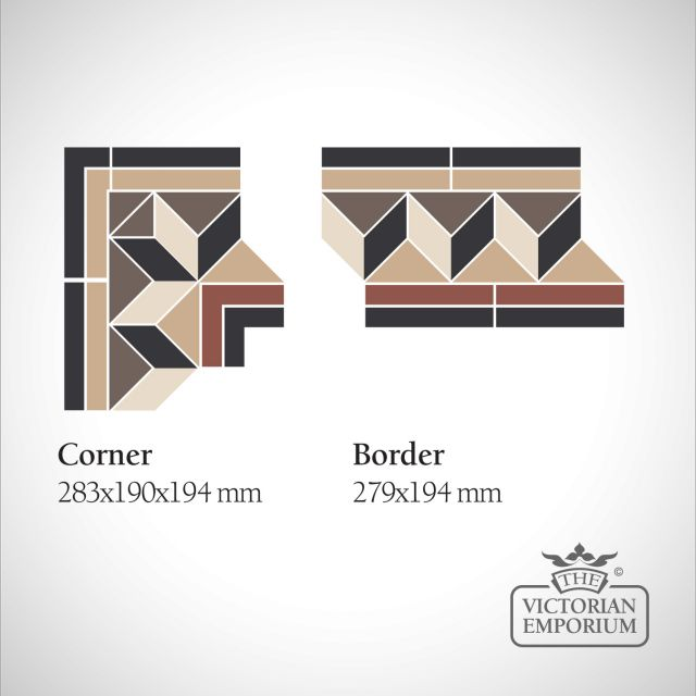 Manchester Victorian Mosaic Floor Tiles - Border or Corner