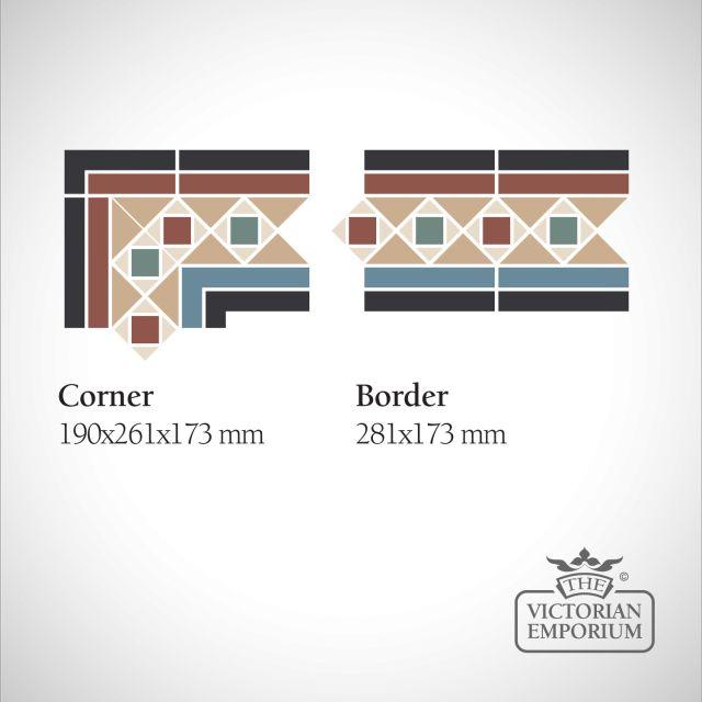 Donnell Victorian Mosaic Floor Tiles - Border or Corner