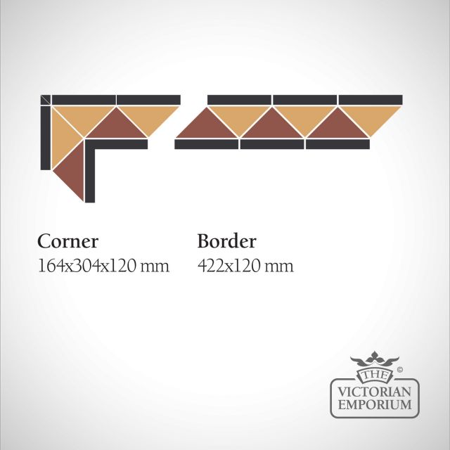 Richmond Victorian Mosaic Floor Tiles - corner or border
