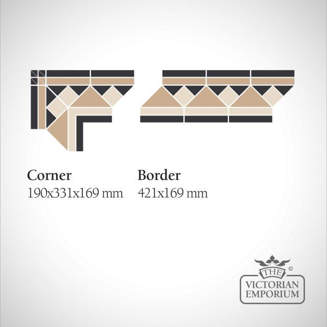 Edinburgh Victorian Mosaic Floor Tiles - Corner or Border