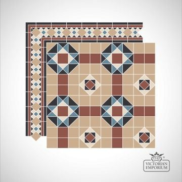 Oxford Victorian Mosaic Floor Tiles - corners and borders