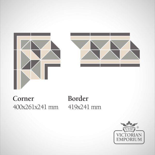 Brussels Victorian Mosaic Floor Tiles - corners and borders