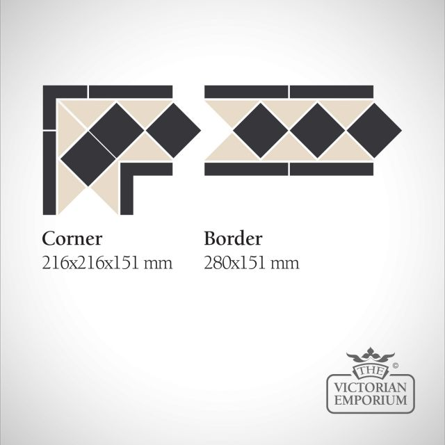 London Victorian Mosaic Floor Tiles - corners and borders