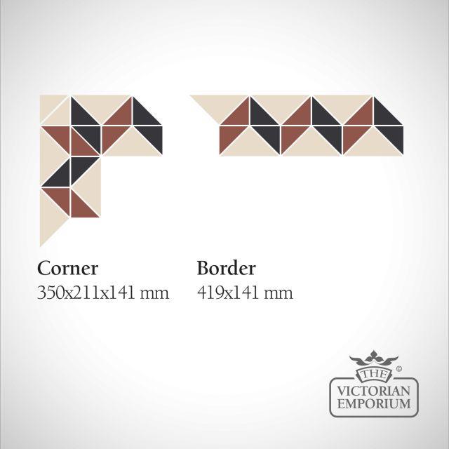 Kensington Victorian Mosaic Floor Tiles - corners and borders
