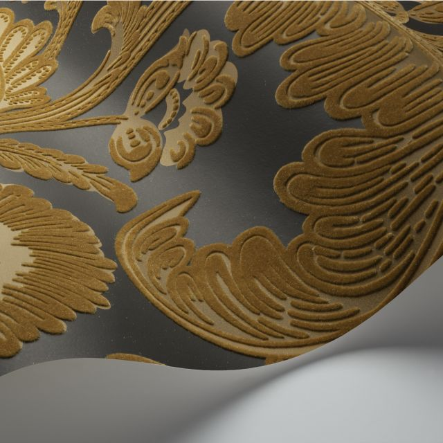 Fanfare Flock wallpaper in a choice of 2 colourways
