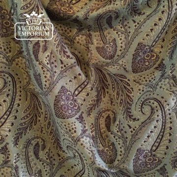 Paisley Fabric in Sage & Aubergine