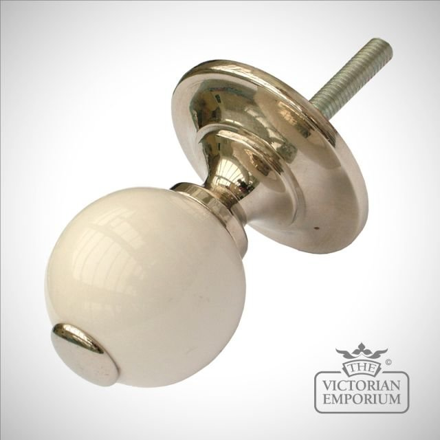 French porcelain cabinet knob in nickel