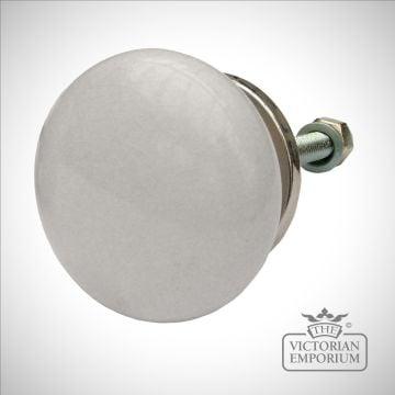 Round white porcelain cabinet knob