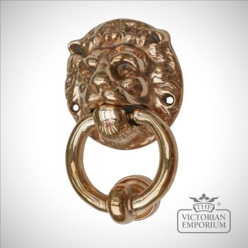 Large Lions head door knocker in a choice of metals