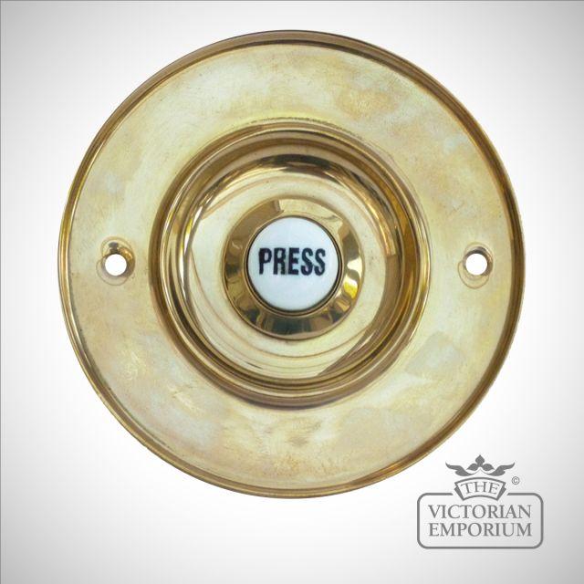 Front door Bell press in brass or nickel