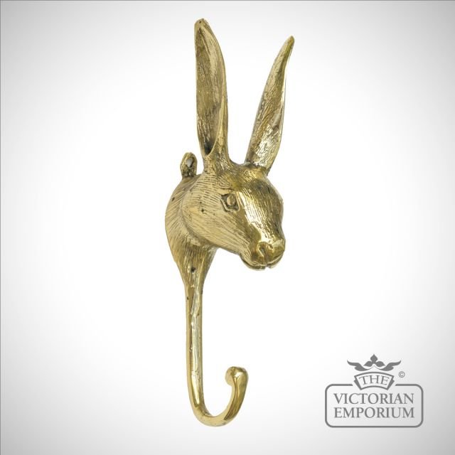 Rabbit hook in polished brass or antique brass