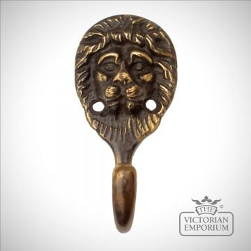 Lions head hook in polished brass, antique brass or nickel