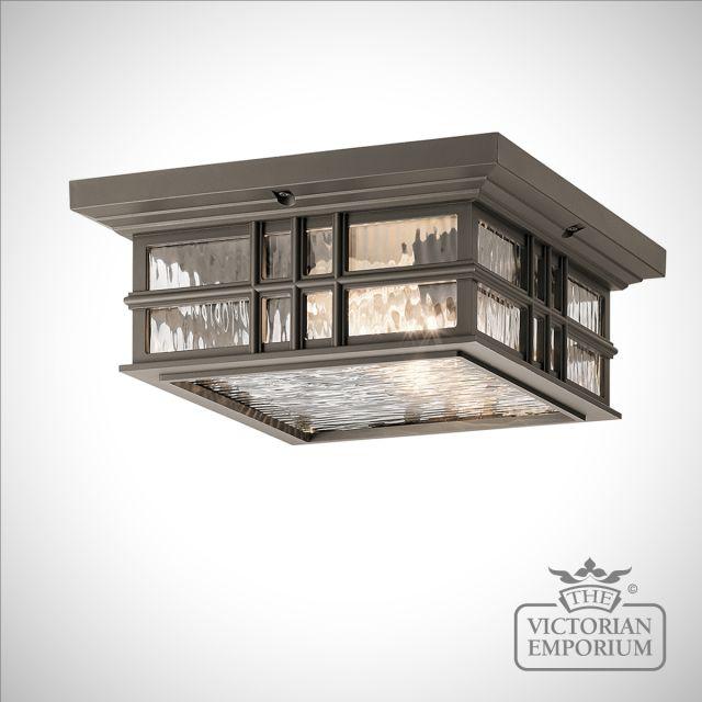 Beacon exterior ceiling flush mount light in bronze