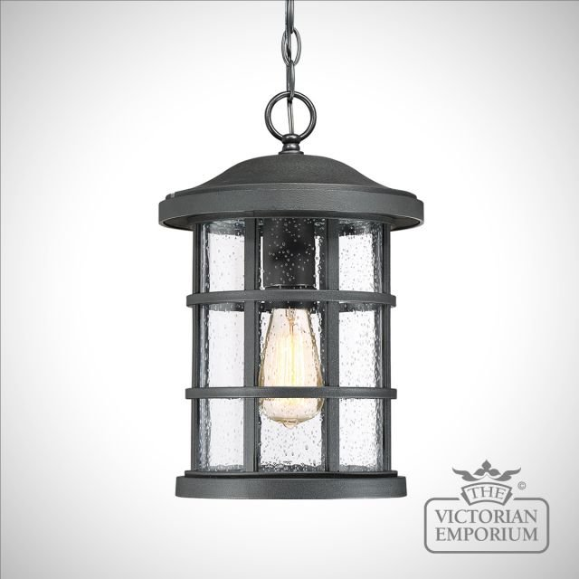 Crusader exterior ceiling chain lantern in Black