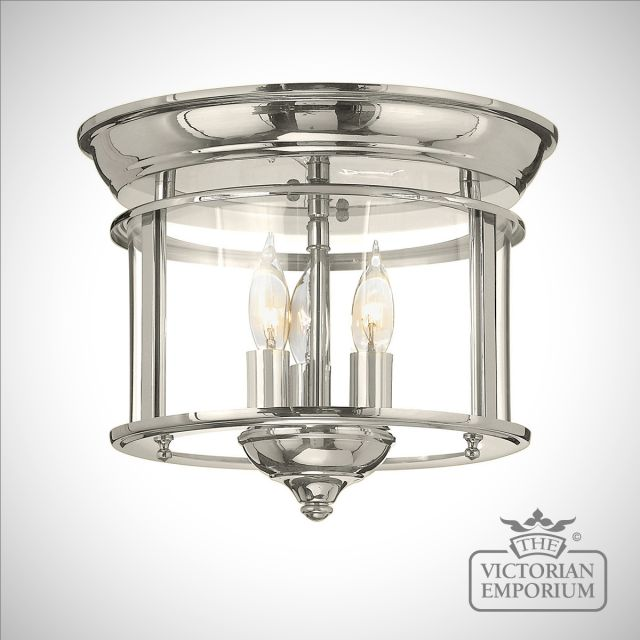 Gentry flush mount light in polished nickel