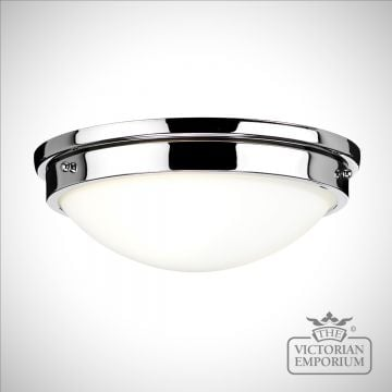 Gravity exterior ceiling flush mount light in polished chrome or polished nickel