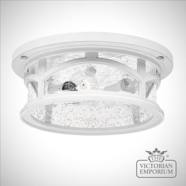 Marble Head exterior ceiling flush mount light in white