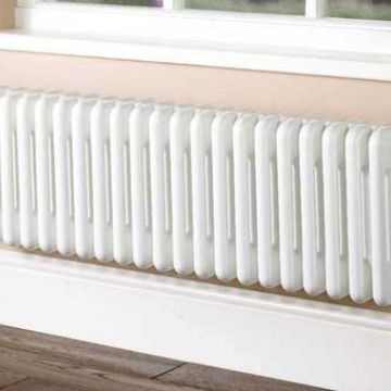 Plain white column radiator 4 columns 302mm high