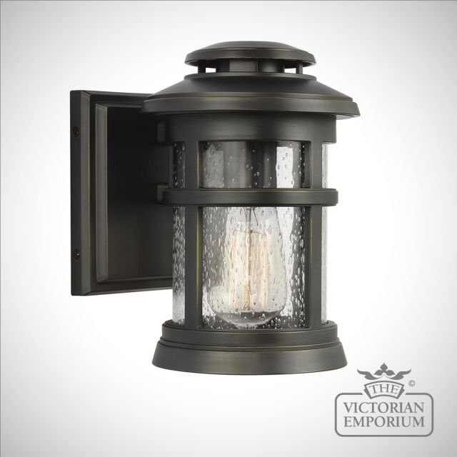 Newport small exterior wall light in antique bronze