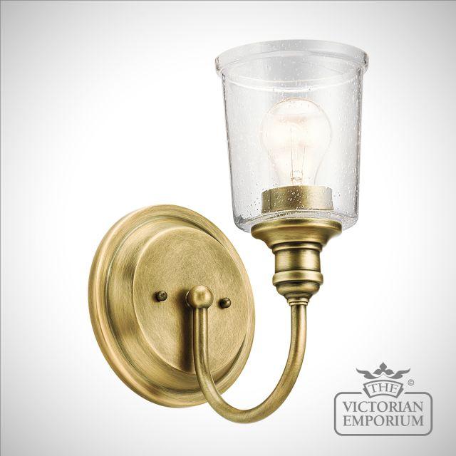 Waverley wall light in natural brass