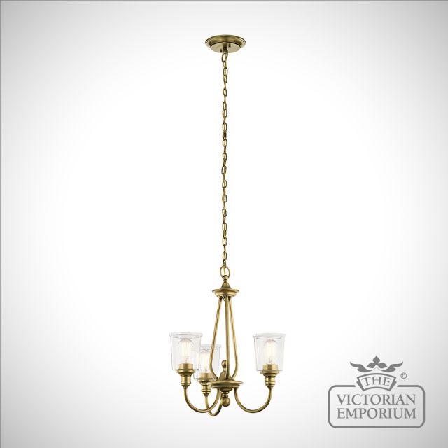 Waverley 3 light small chandelier in natural brass