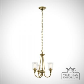 Waverley 3 light small chandelier in natural brass