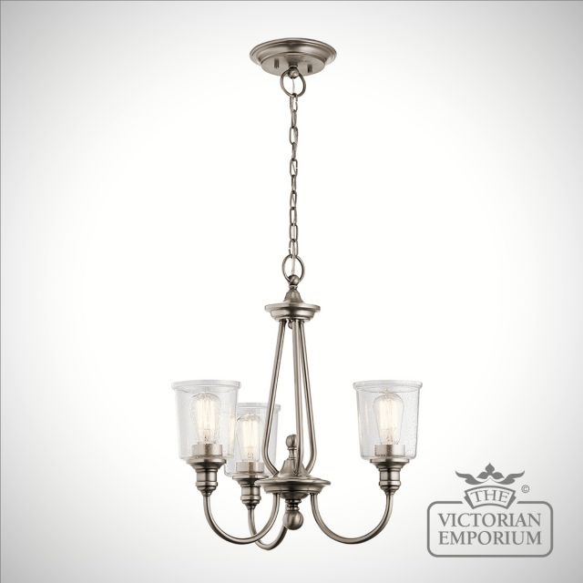 Waverley 3 light small chandelier in pewter
