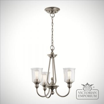 Waverley 3 light small chandelier in pewter