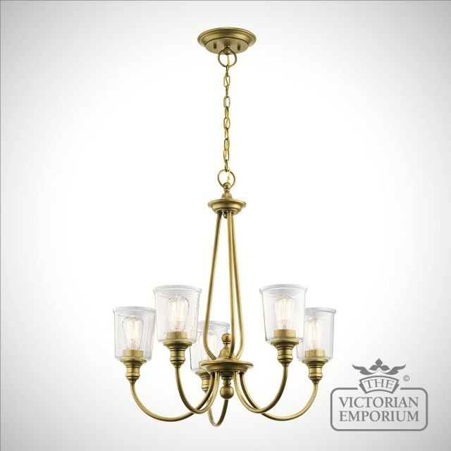 Waverley 5 light small chandelier in brass