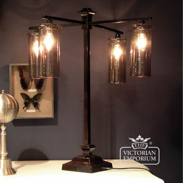 ​4 arm table lamp with  smoked glass shades