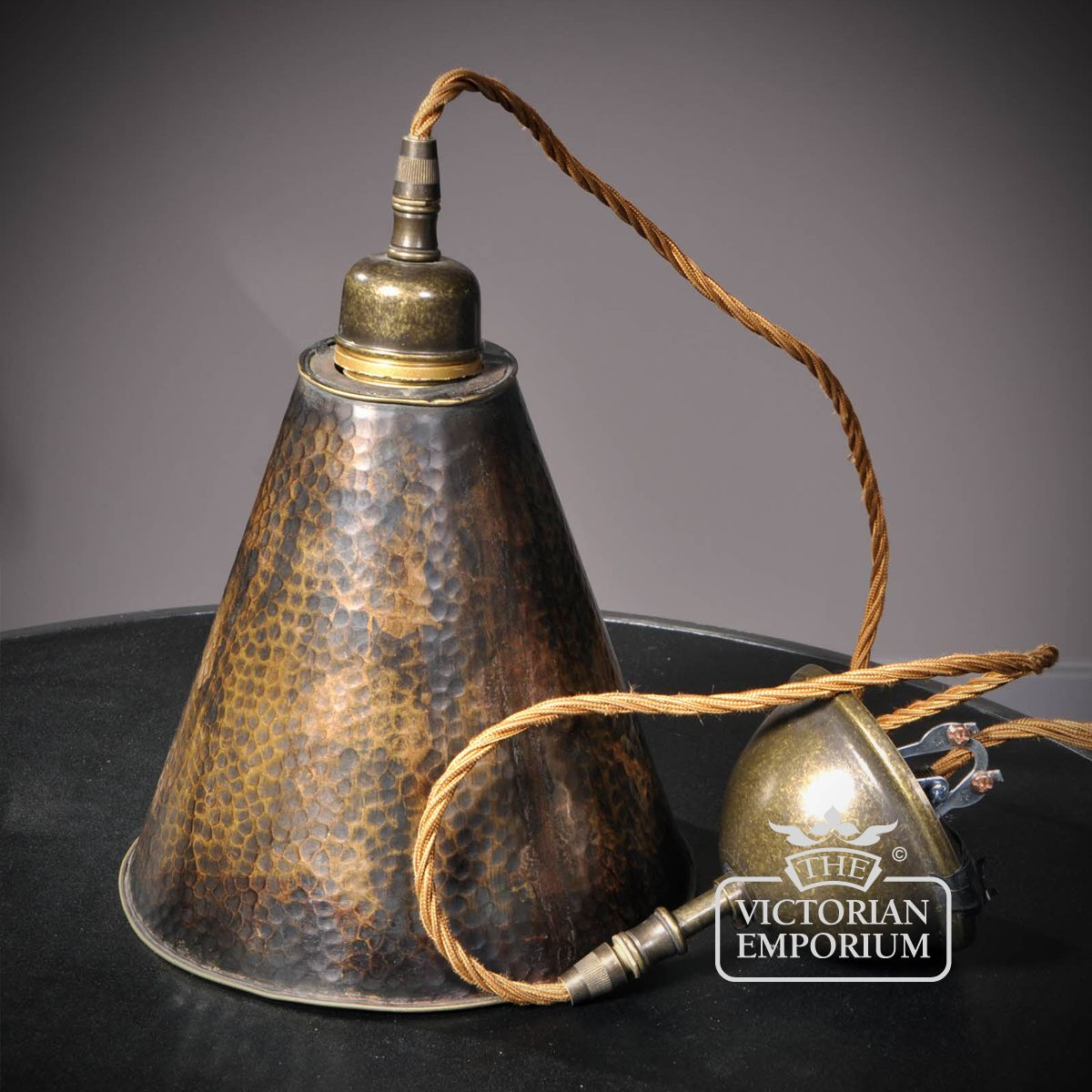 Small copper lamp shade with antique style cable Interior ceiling and hanging lights