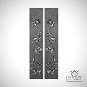 Cast Fireplace panel featuring long stemmed flowers