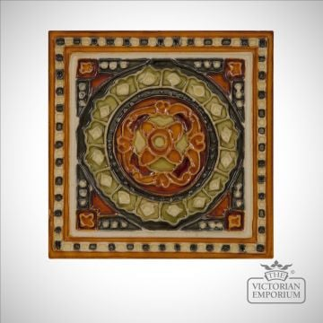 Fireplace tiles featuring symmetrical design in rich colours