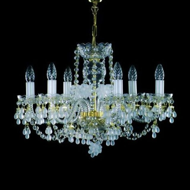 Frosted glass drop chandelier - nickel