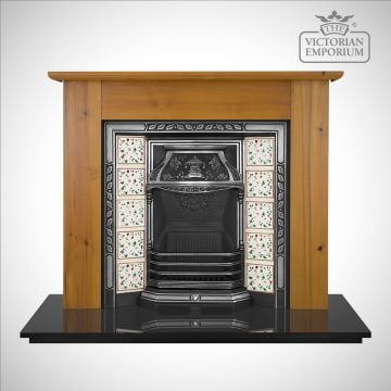 The Laurel Victorian style cast iron fireplace insert with decorative tiles