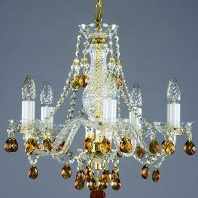 Small coloured chandelier gold
