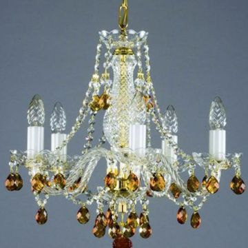 Small coloured chandelier - gold