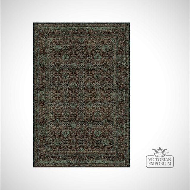 Victorian Rug - style IM1951 Green and Brown patterned