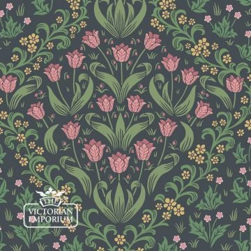 Tudor Garden wallpaper in a choice of Blue/Fuschia, Green/Red and Green/Plum